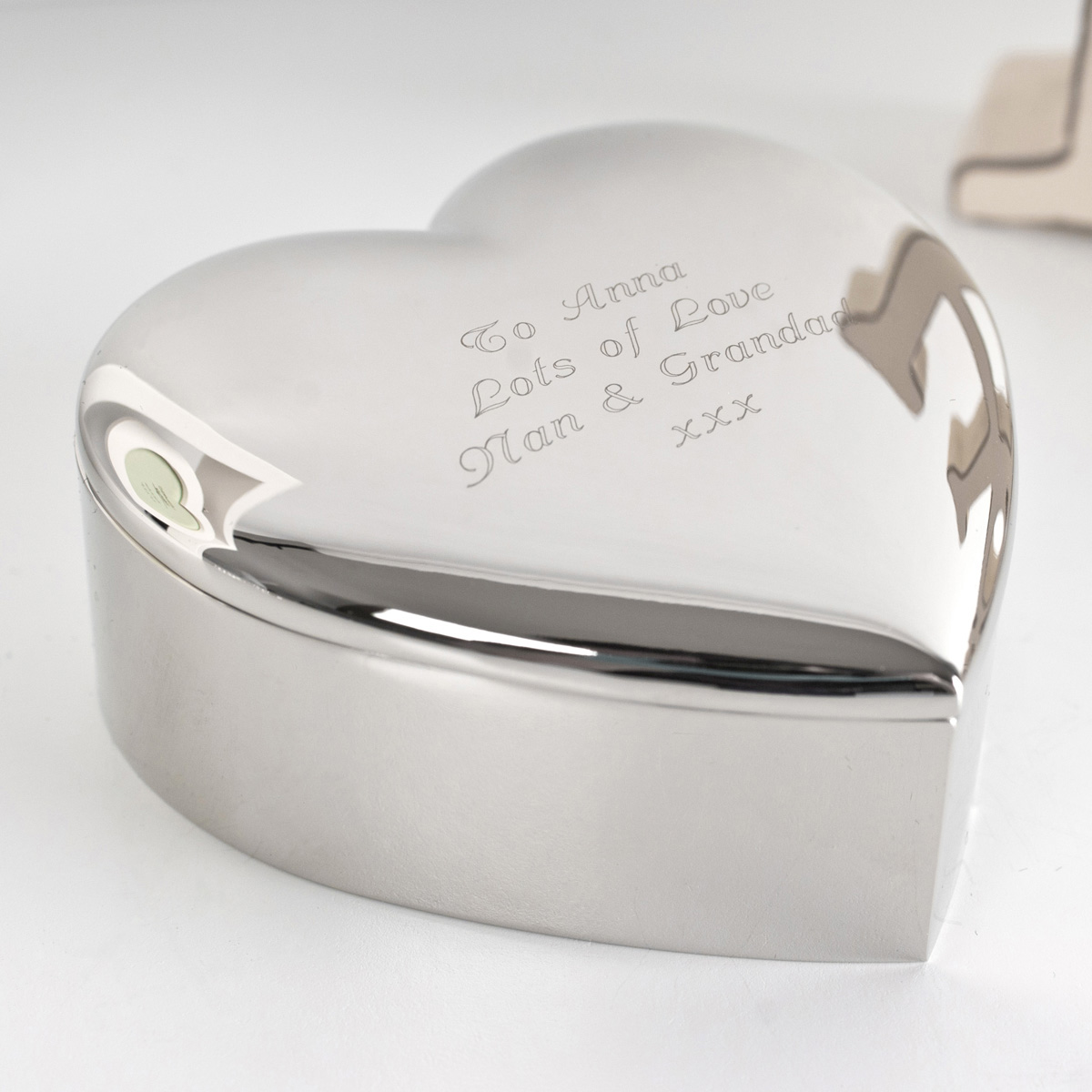 Engraved Silver Plated Heart Trinket Box Gettingpersonal
