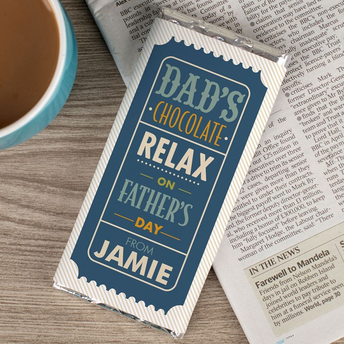 Personalised Chocolate Bar - Relax On Father's Day