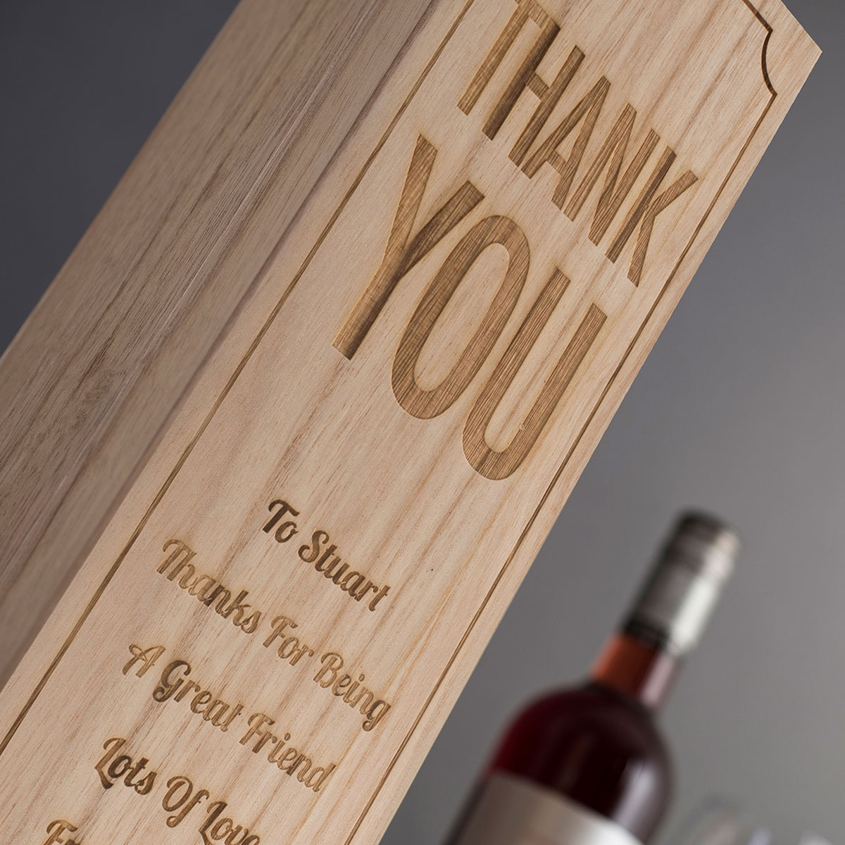 Personalised Luxury Wooden Wine Box Thank You