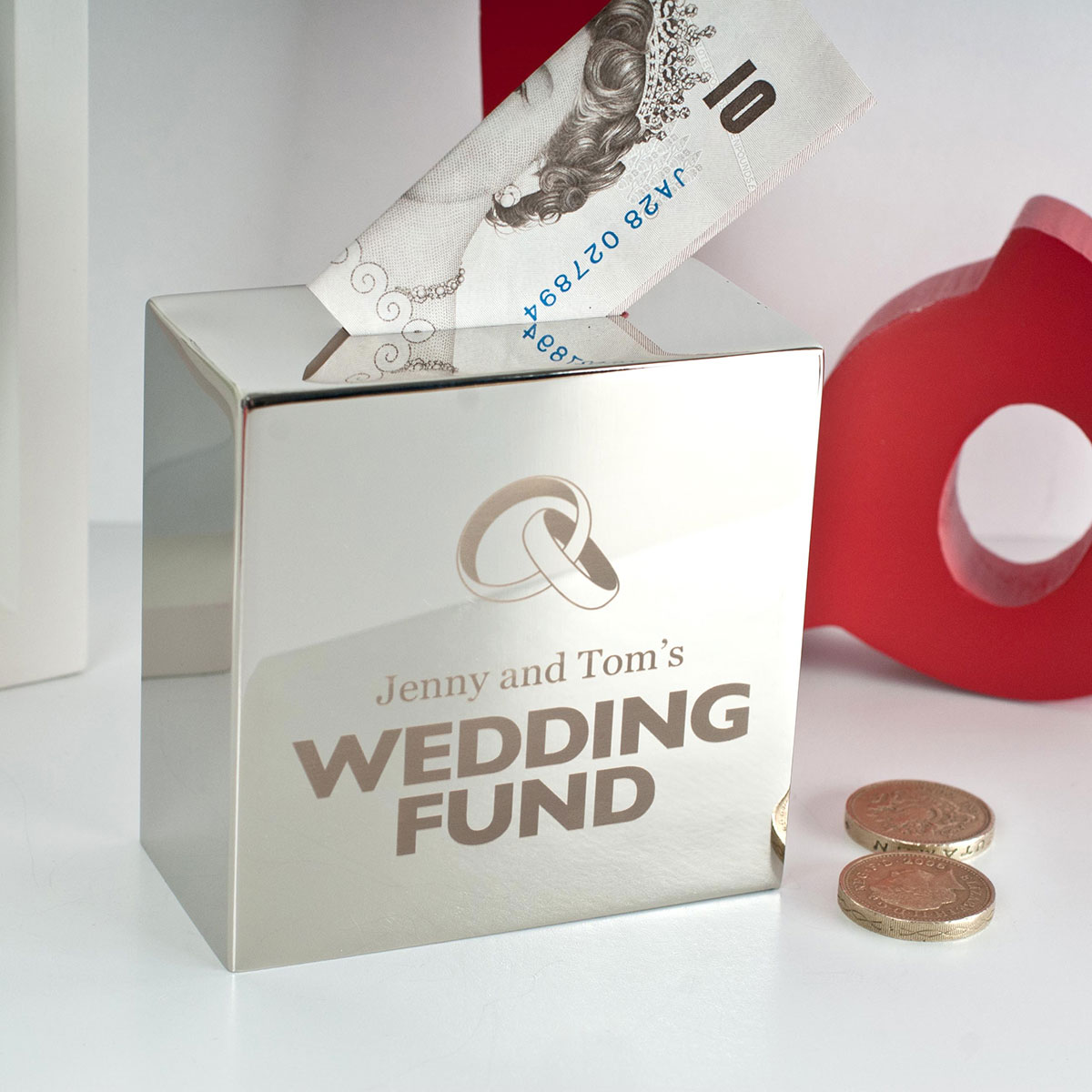 Money For Wedding Gift : Personalised Silver Money Box - Wedding Fund GettingPersonal.co.uk