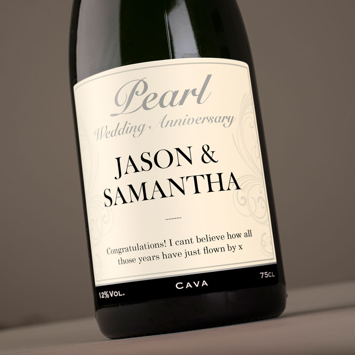 Wedding Gifts Next Day Delivery: Personalised Cava - Pearl Anniversary