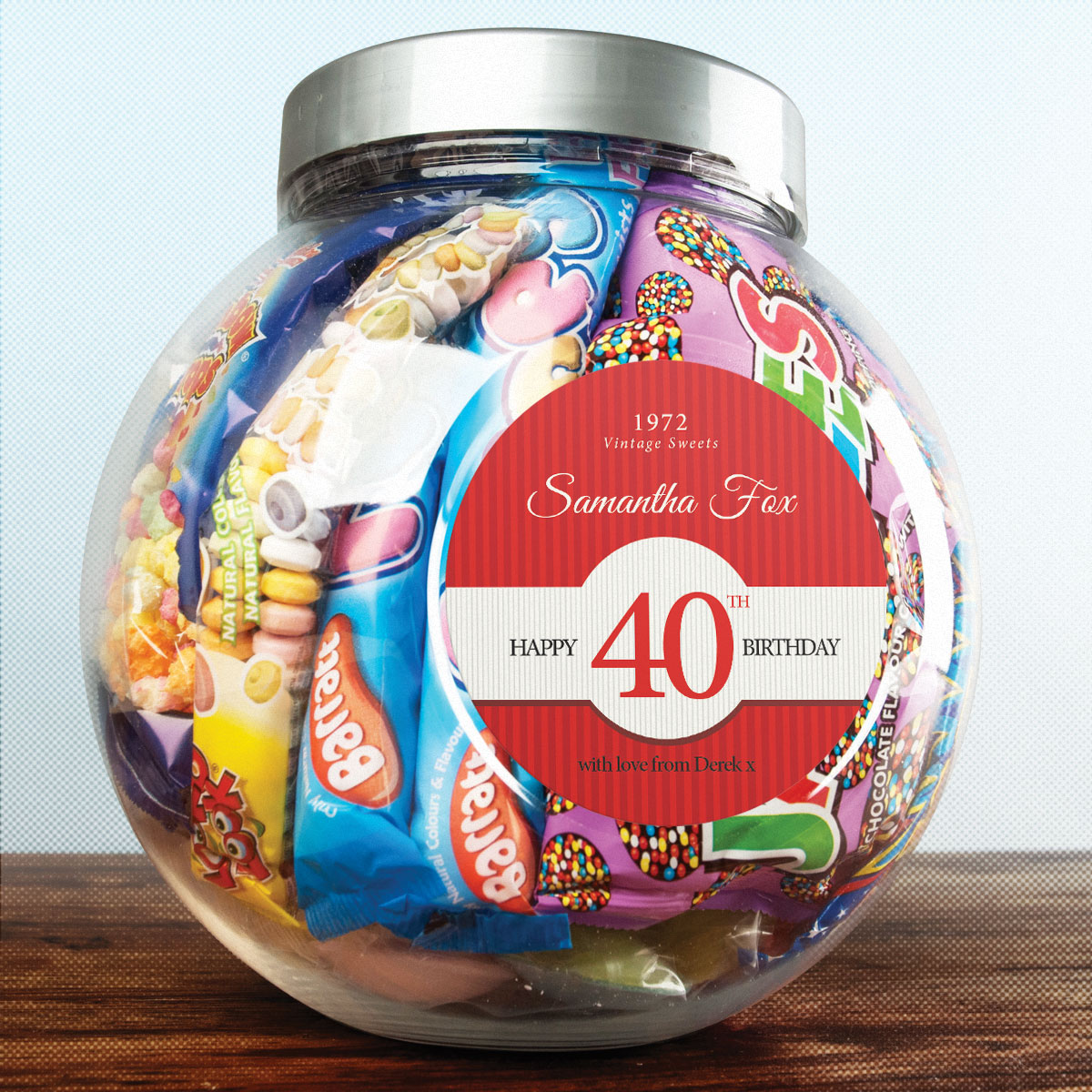 Personalised Retro Sweet Jar - 40th Birthday