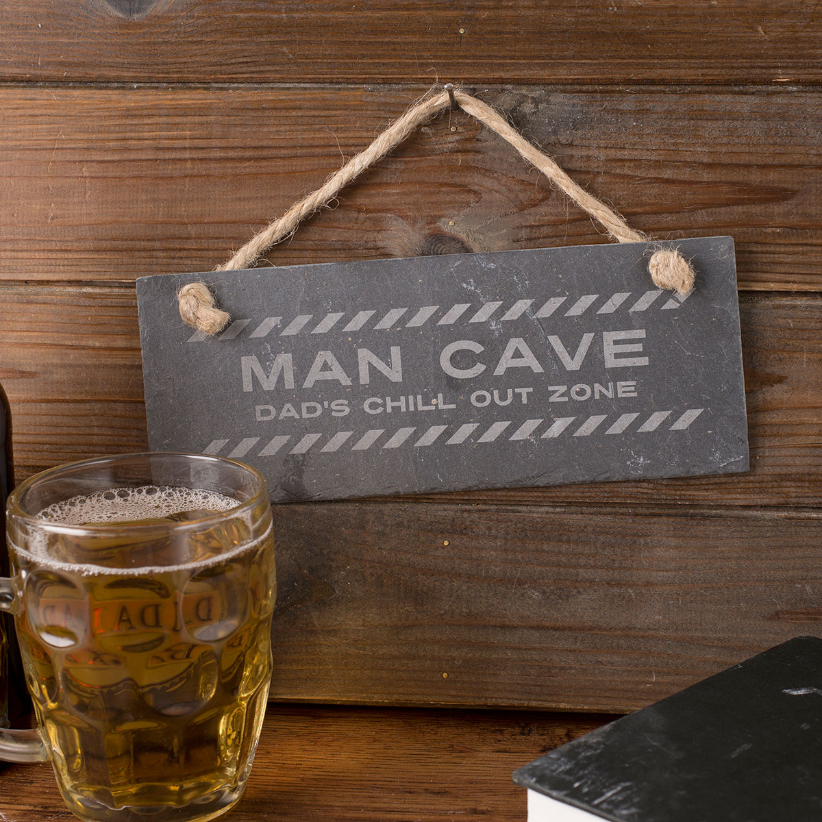 Man Cave Christmas Gifts : Personalised hanging slate sign man cave
