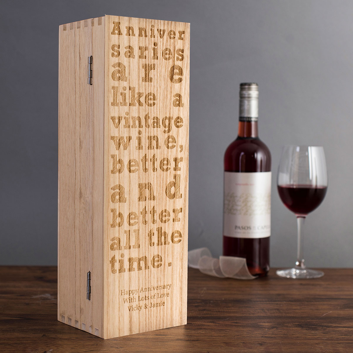 Personalised Luxury Wooden Wine Box Anniversary Design