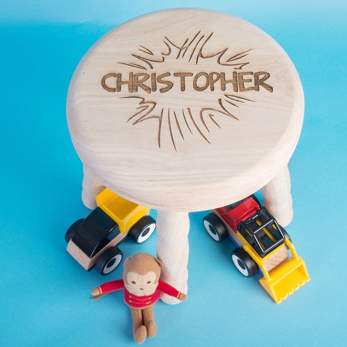 Personalised Children's Wooden Stool KAPOW GettingPersonal.co.uk