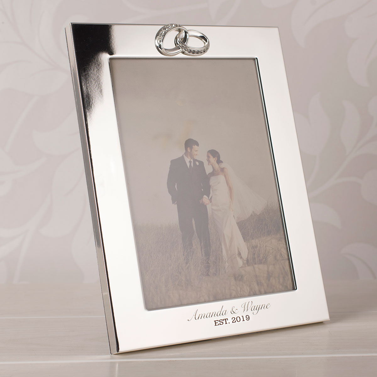 Engraved Silver Plated Wedding Photo Frame With Crystal