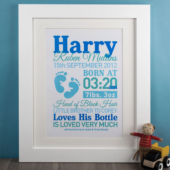 New Baby Girl Gift Ideas Uk : Personalised baby boy print bespoke gifts and presents
