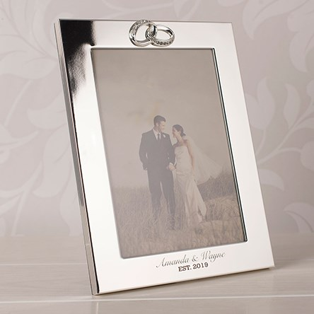 Personalised Wedding Photo Frames Uk : Engraved Silver-Plated Wedding Photo Frame with Crystal Rings