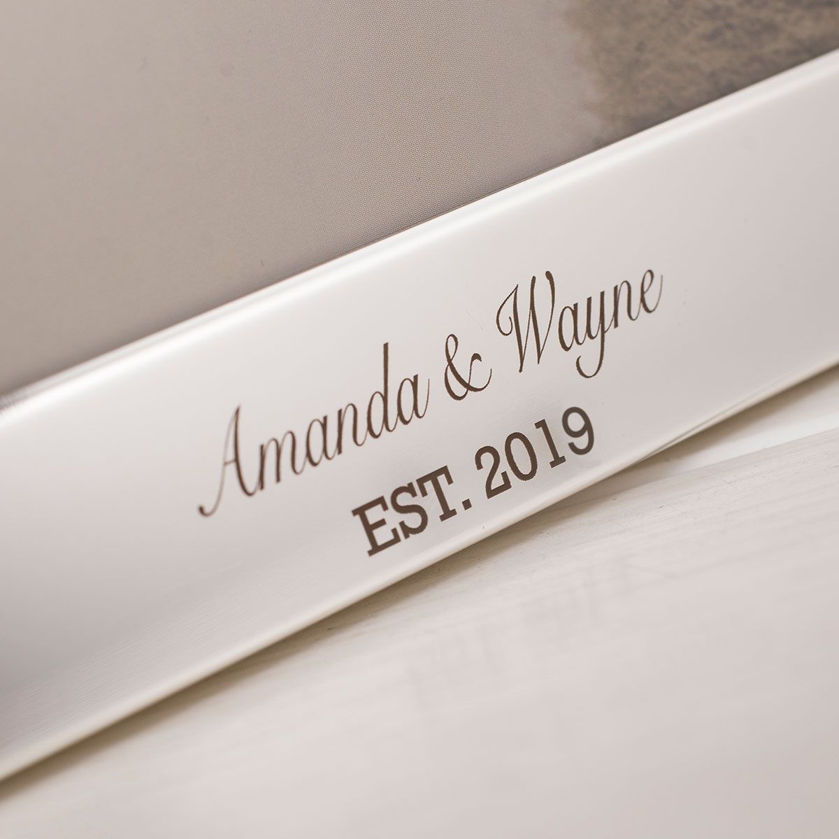 Engraved Silver-Plated Wedding Photo Frame with Crystal Rings ...