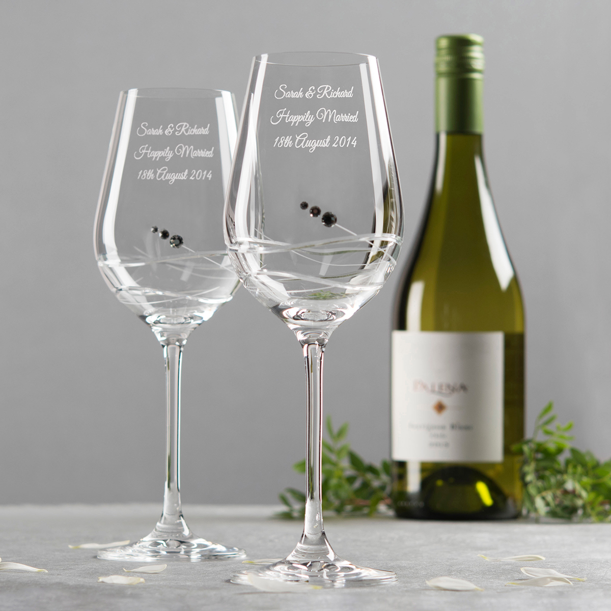 Luxury personalised gifts for couples - Swarovski stemware ...