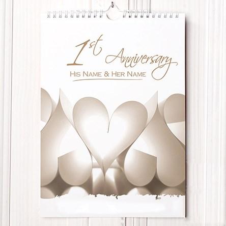 Personalised Calendar - Paper Anniversary