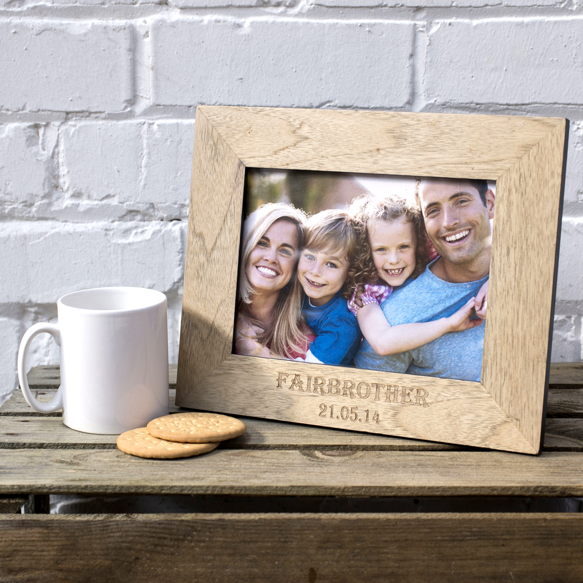 Engraved Wooden Picture Frame Family Name