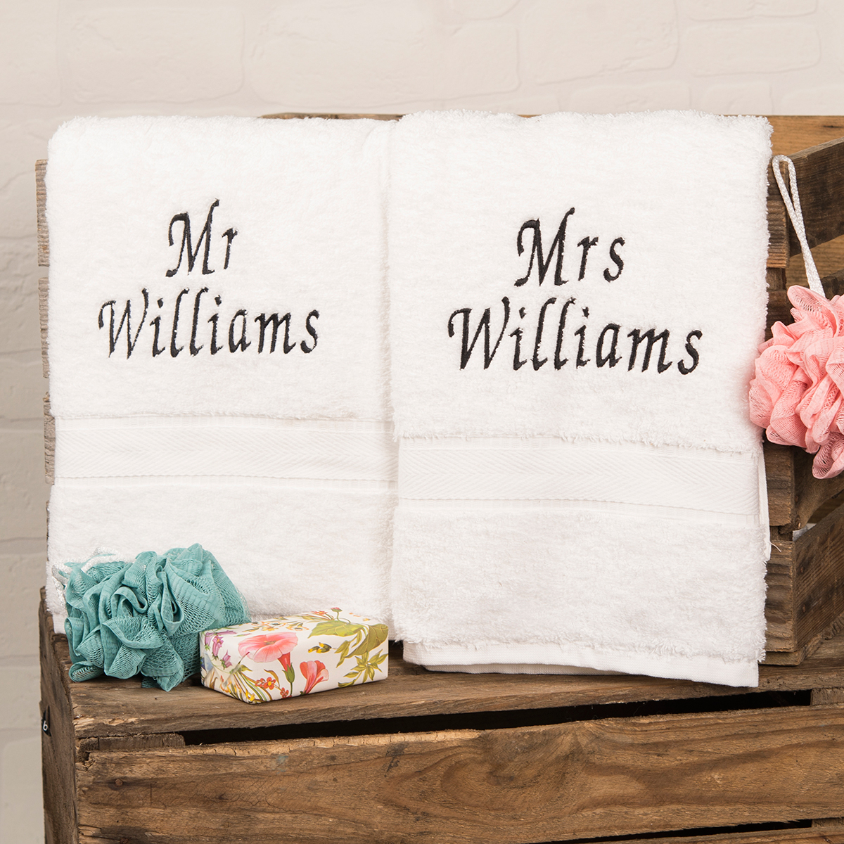 ... His and Hers Bath Towels Embroidered Gifts By GettingPersonal.co.uk