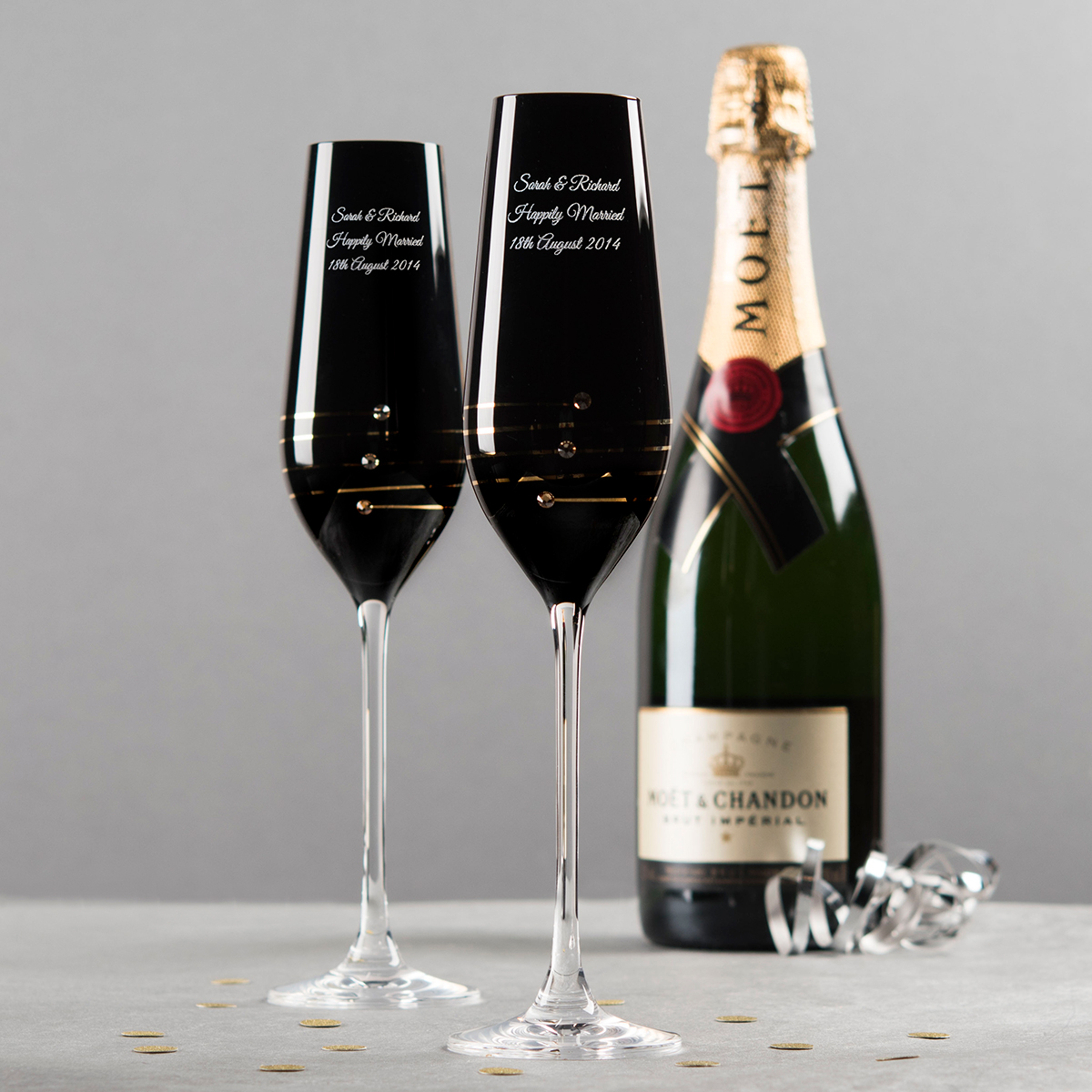 engraved nero swarovski elements diamant champagne flute. Black Bedroom Furniture Sets. Home Design Ideas