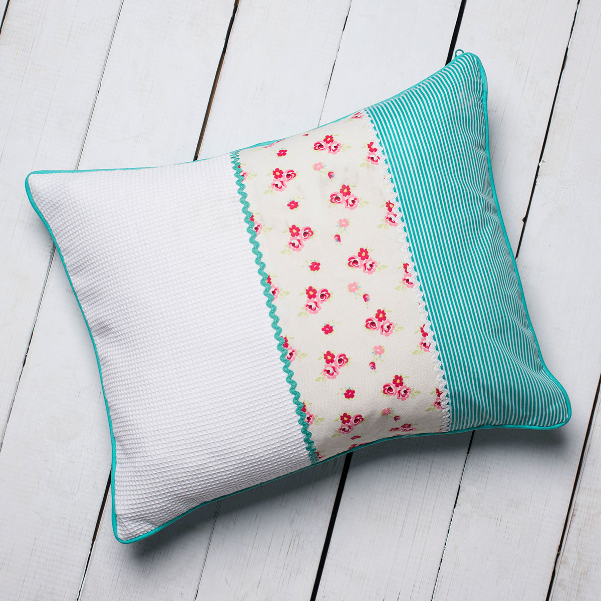 Personalised Turquoise Ditsy Patchwork Cushion