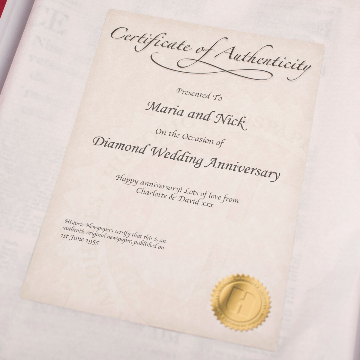 Diamond Wedding Anniversary Gift Ideas Uk : ... - Diamond Anniversary Newspaper Gifts by GettingPersonal.co.uk