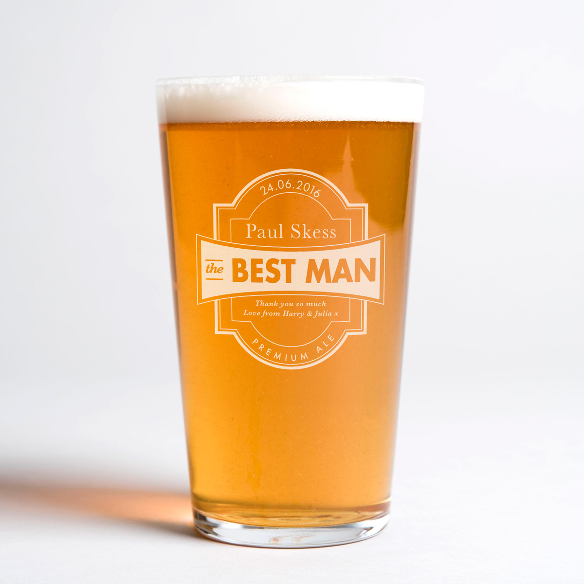 Wedding Gifts For Ushers And Best Man: Personalised Pint Glass
