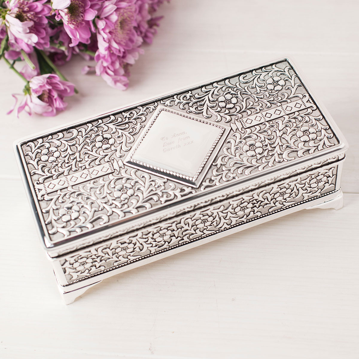 Antique Finish Silver Plated Jewellery Box