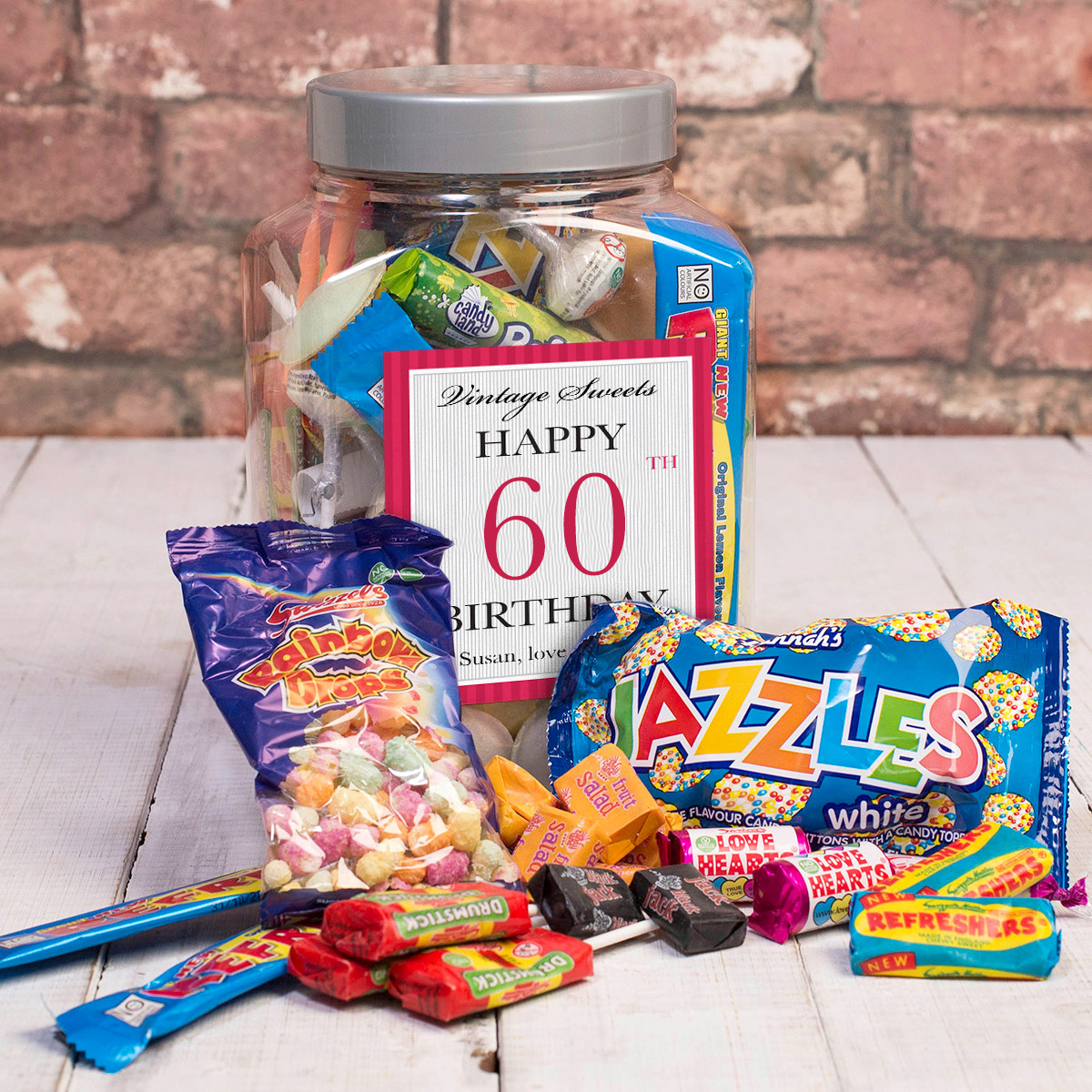 Personalised Retro Sweet Jar Happy 60th Birthday