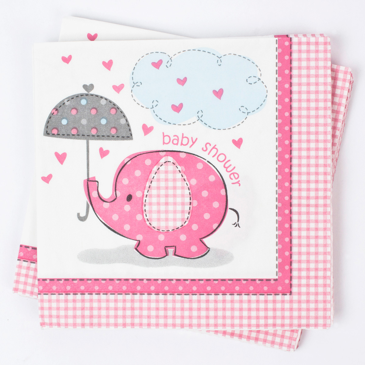 elephant print baby shower napkins pink