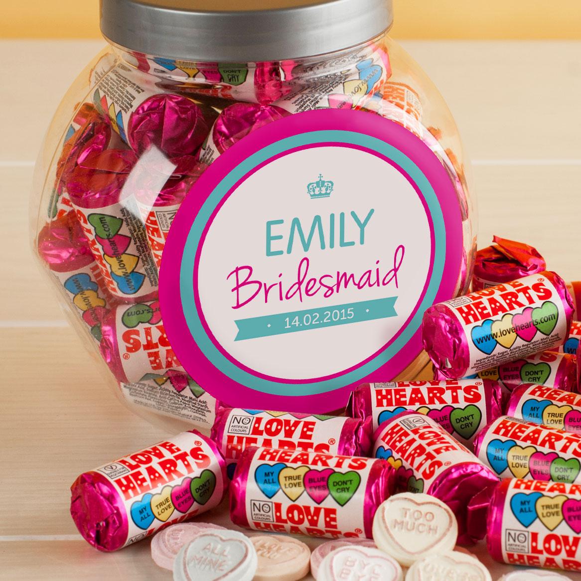 Personalised Love Hearts Jar My Bridesmaid
