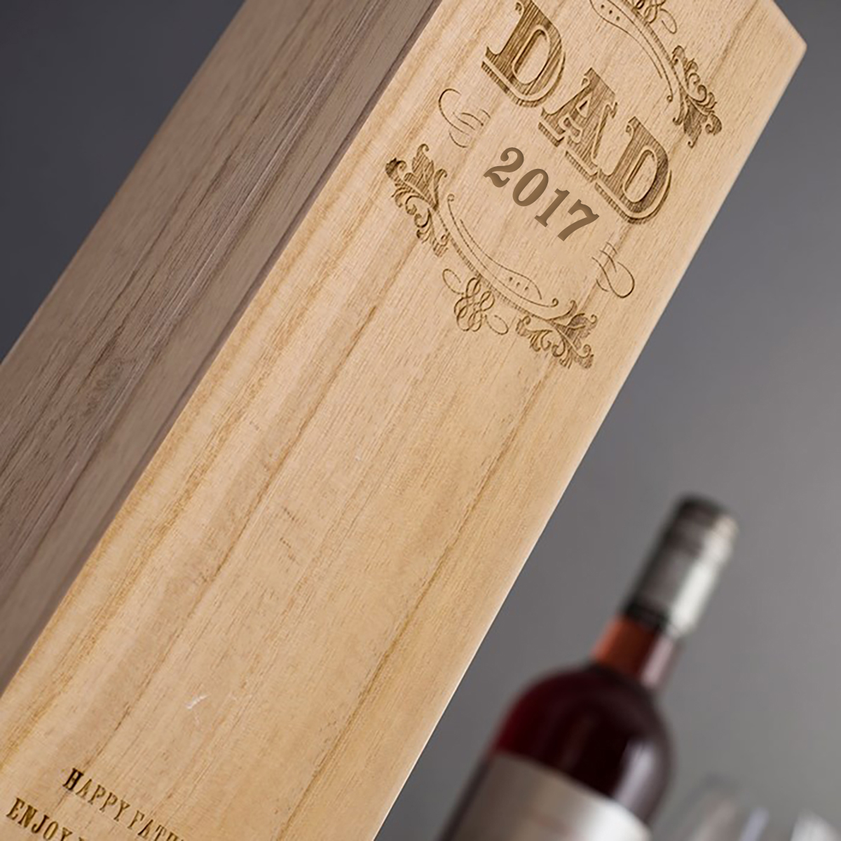 Personalised Luxury Wooden Wine Box Dad Special Year