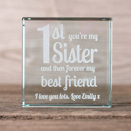 Wedding Gift For Older Sister : Personalised Glass Token1st Youre My SisterForever Best Friend