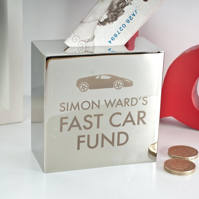 personalised silver money box fast car fund perfect for