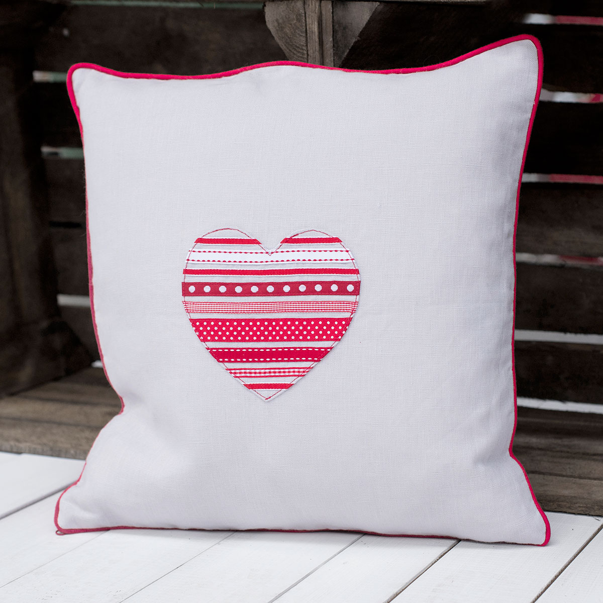 Personalised Grey Red Heart Cushion