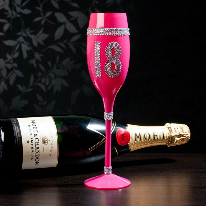 Th Birthday Wine Glass Engraved Pink
