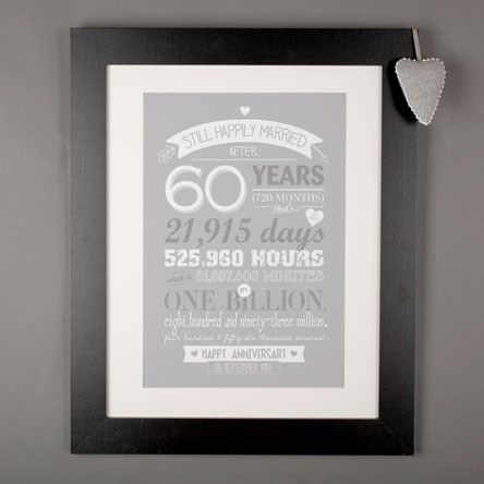 Gift Ideas 60th Wedding Anniversary Parents : 60th Diamond Wedding Anniversary Gifts GettingPersonal.co.uk
