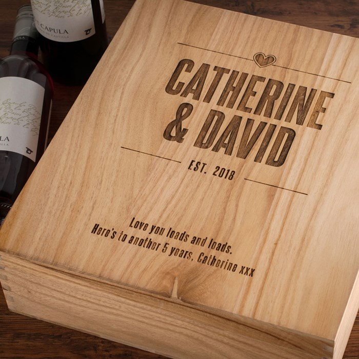 Personalised 3 bottle wooden wine box established for Timber wine box