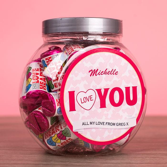 Personalised Love Hearts Jar - I Love You