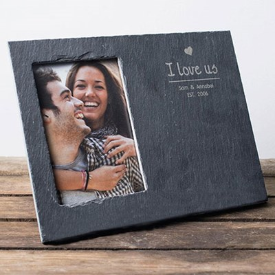 Engraved Slate Chalkboard Photo Frame Couples Heart