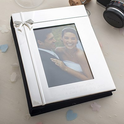Engraved Silver Wedding Photo Frame With Diamante Crystals : Engraved Silver Diamante Photo Frame GettingPersonal.co.uk