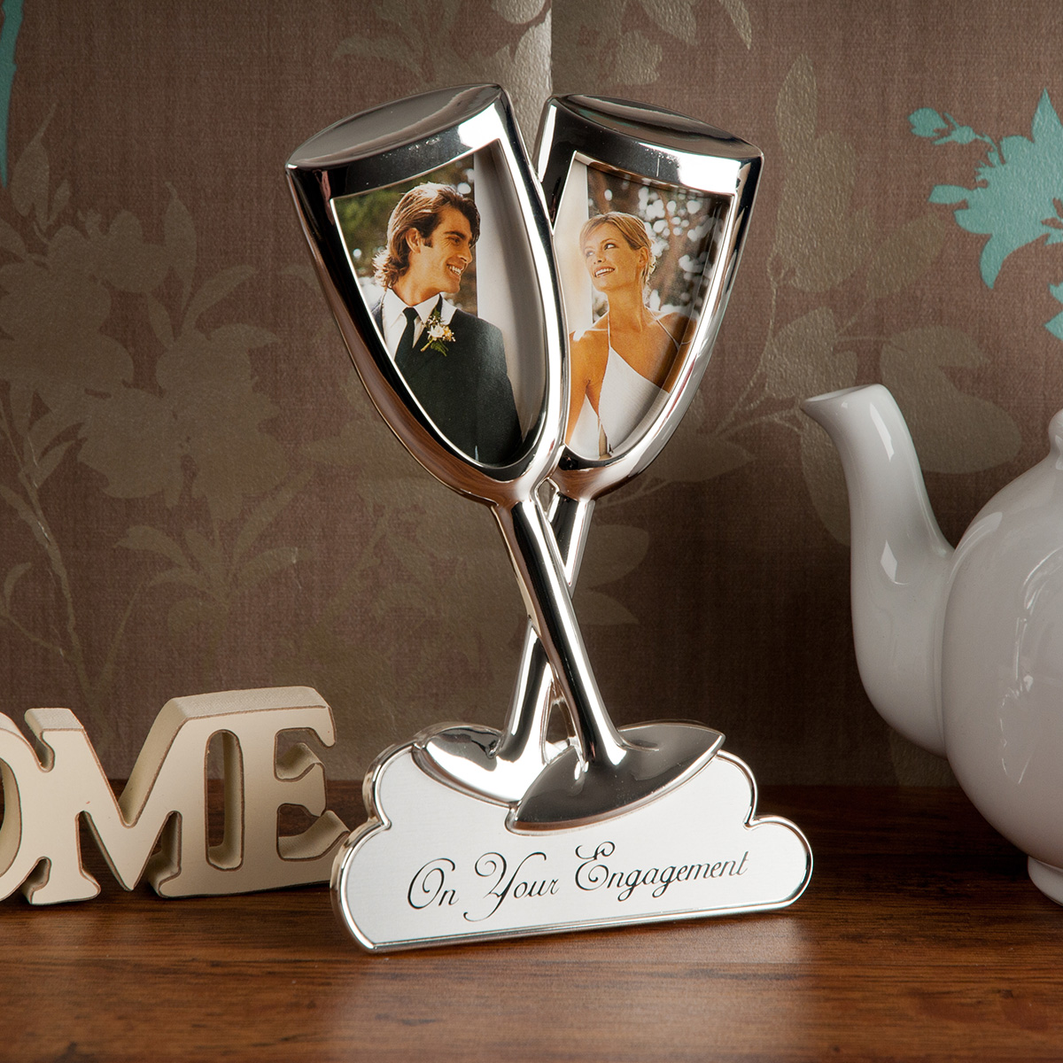 Silver Plated Engagement Champagne Photo Frame