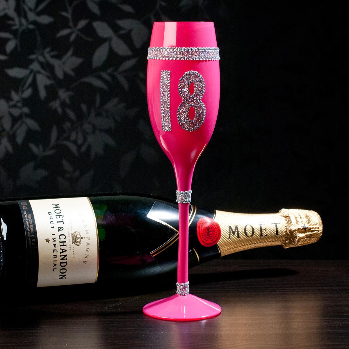 18th birthday pink glass champagne flute birthday gifts