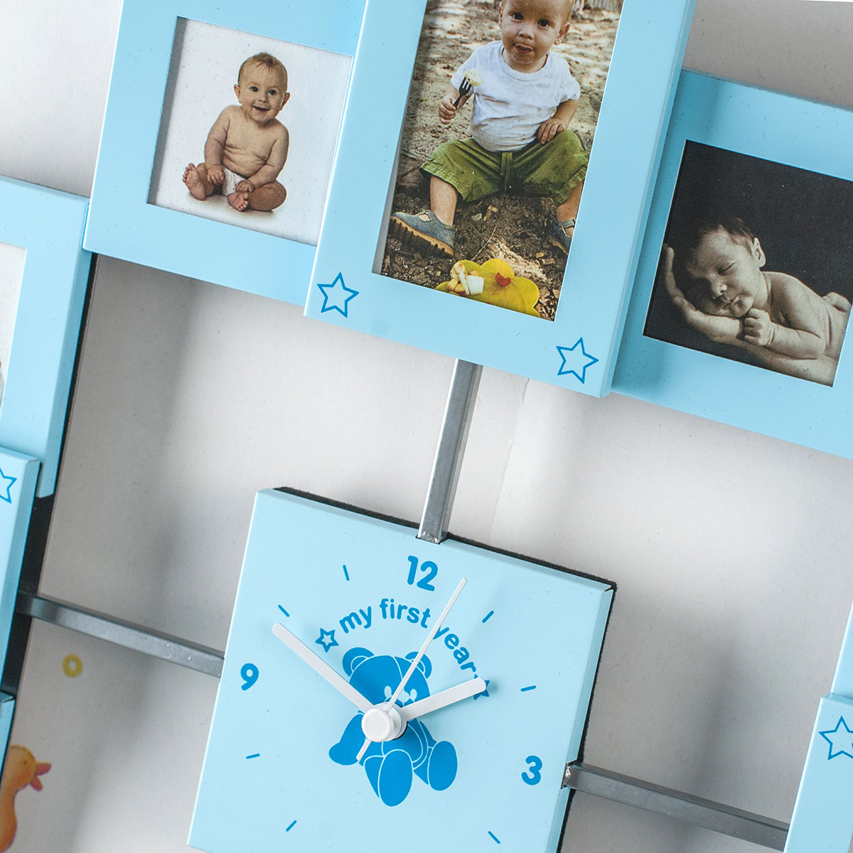 Baby Gifts Next Day Delivery Uk : My first year collage clock for baby boys gifts by