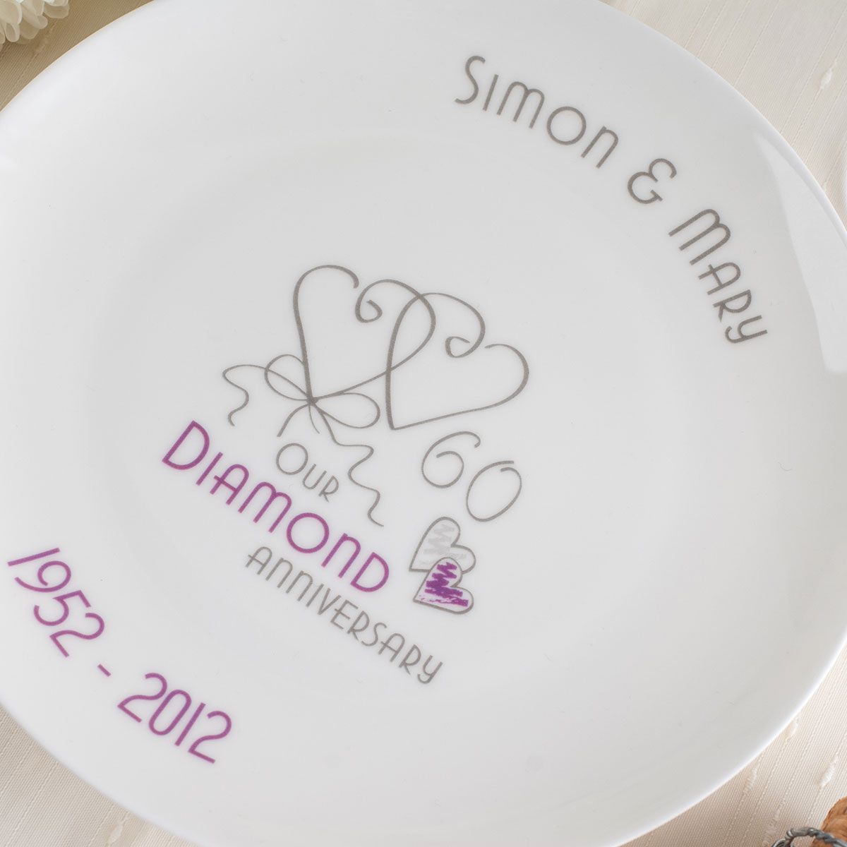 Personalised Bone China Plate - Diamond Anniversary Ribbon