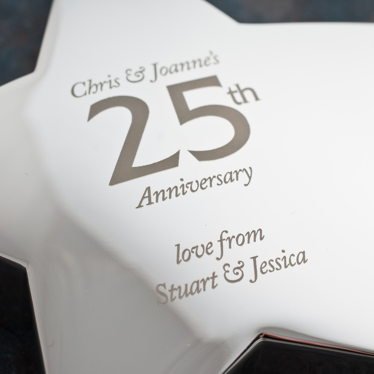 Engraved th anniversary silver star paperweight