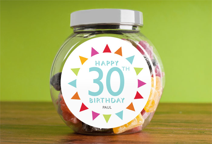 Jelly Baby Gifts Uk : Personalised jelly babies jar birthday bunting