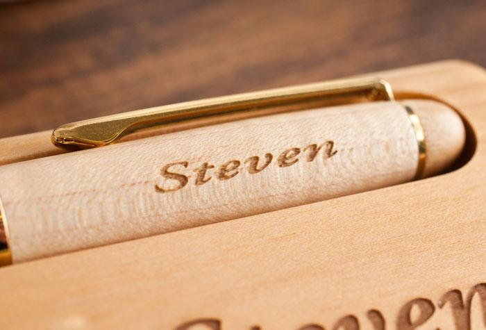 Engraved Wooden Desk Set & Pen