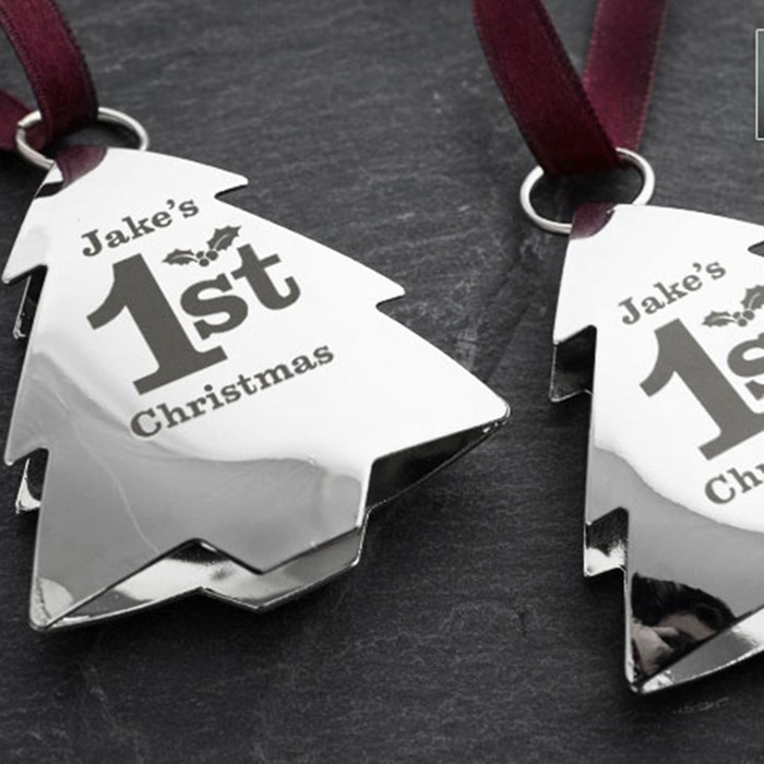 Set Of 2 Engraved Silver Christmas Ornaments - 1st ...