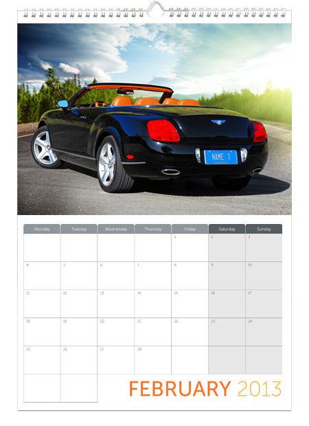 Personalised Calendar Dream Cars New Great For Car