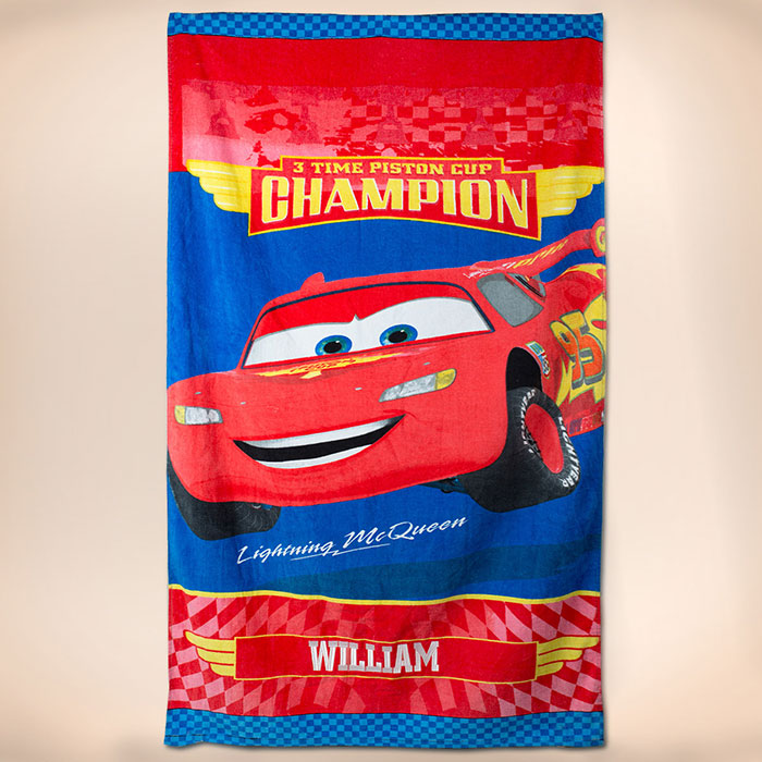 Personalised Disney Cars Beach Towel, Embroidered With Any