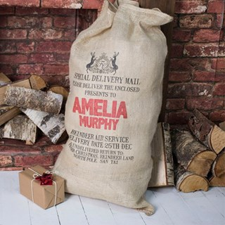 Personalised Christmas Hessian Sack – Royal Crest