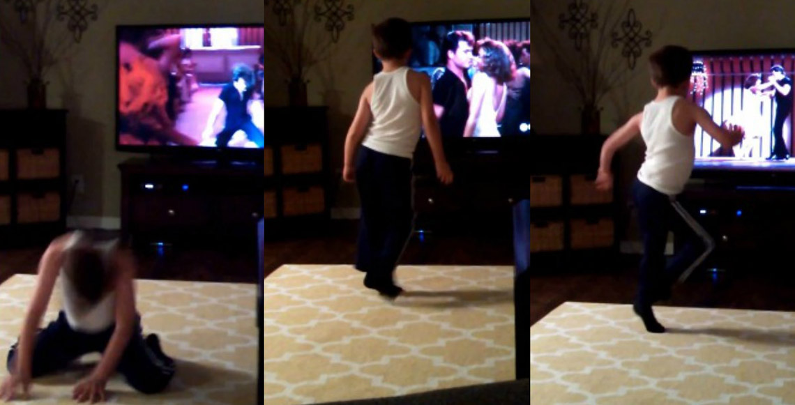 8-Year-Old Boy Re-enacts Moves From Dirty Dancing