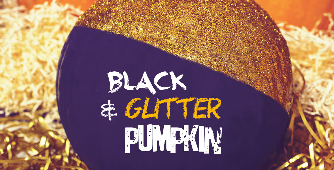 No-Carve Halloween Pumpkins:DIY Black Gold Glitter