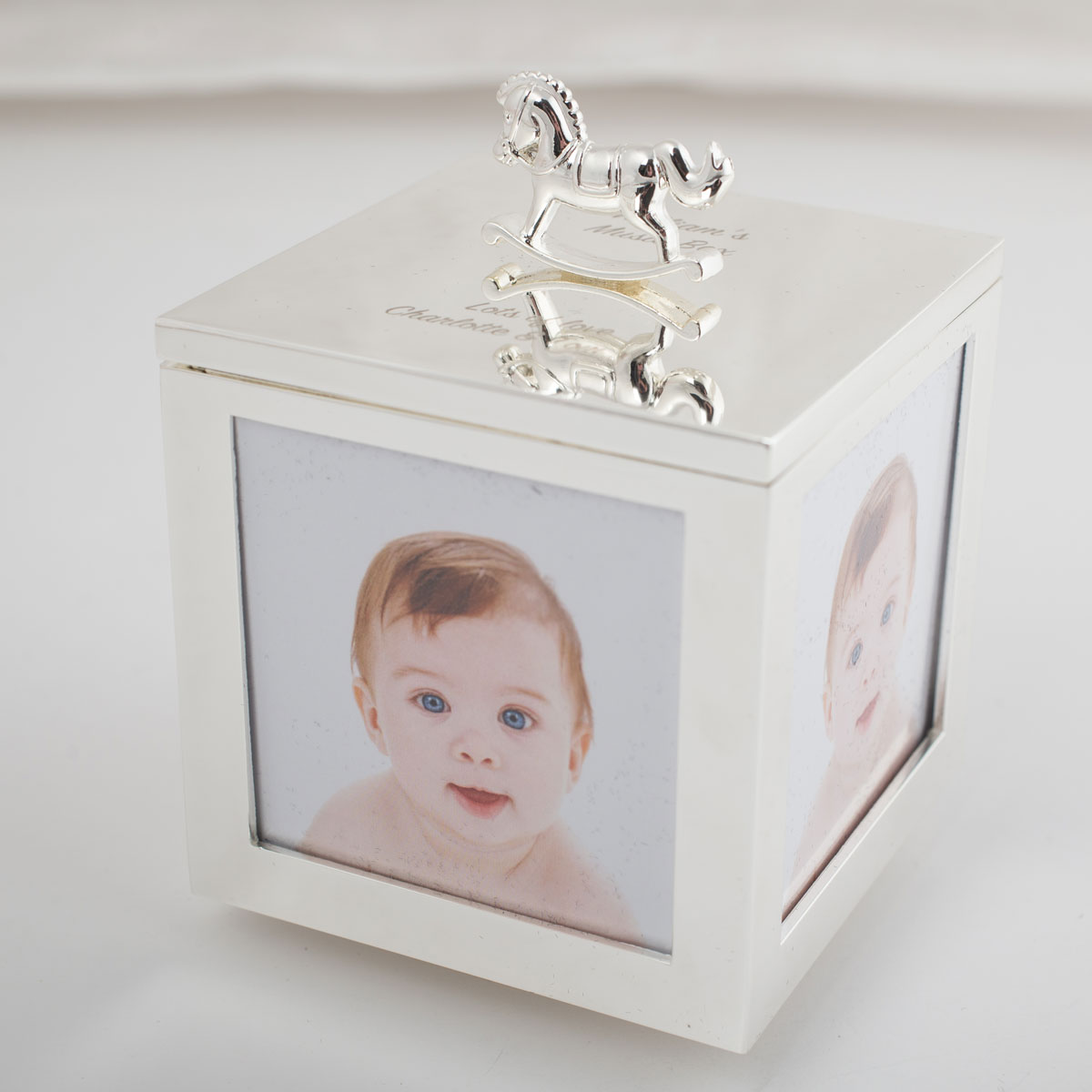 Engraved Baby Photo Musical Trinket Box