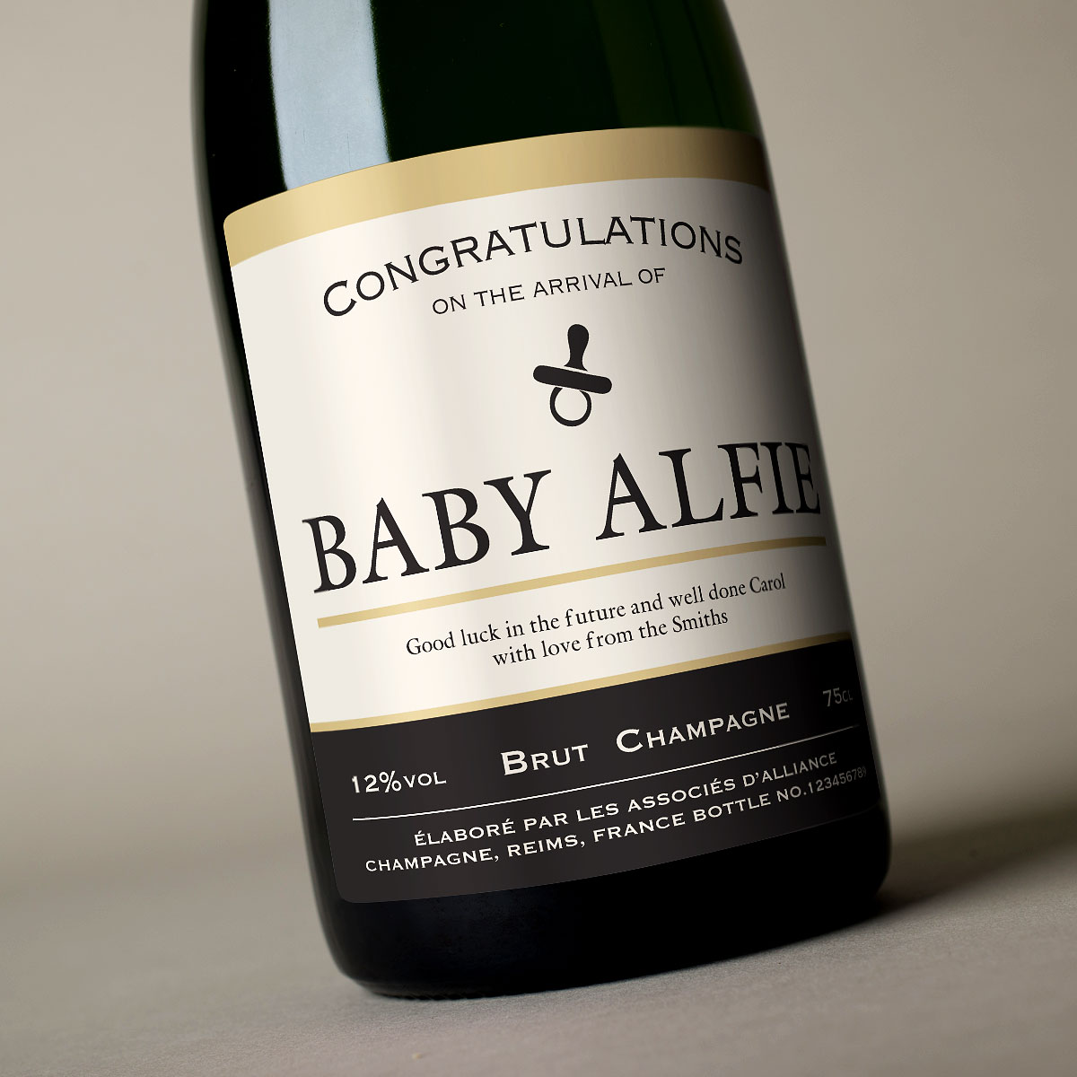 Luxury Personalised Champagne - New Baby Arrival